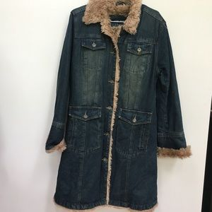 Steve Madden Faux Fur Faded Denim Winter Coat
